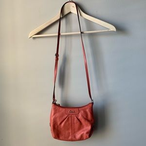 Coach leather Ashley sling pack crossbody coral